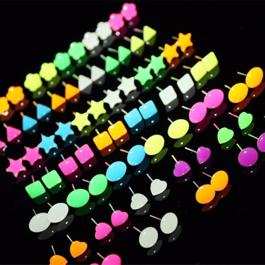 Popular Hot Style Of Wholesale 336 Pairs Multicolor Noctilucence Classic  Prevent Allergy Stud Earrings(china