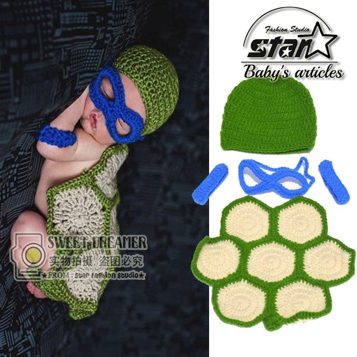 Handmade-Knitted Wool Suit Children Baby Clothing Halloween Cosplay  Clothing Baby Teenage Mutant Ninja Turtles Birthday Gift<br><br>Aliexpress