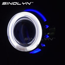 SINOLYN Motorcycle Headlight 2.0'' CCFL Dual Angel Eye Halo HID Bi xenon Projector Lens Light Kit For Headlamp Retrofit DIY