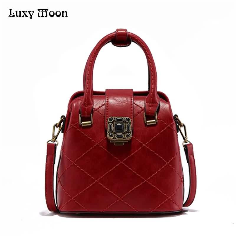 Luxy Moon Womens Handbag PU Leather Fashion Handbag Top Handle Doctor Bag Back Pack for Women Messenger Bag  Plum Locker ZD766<br>