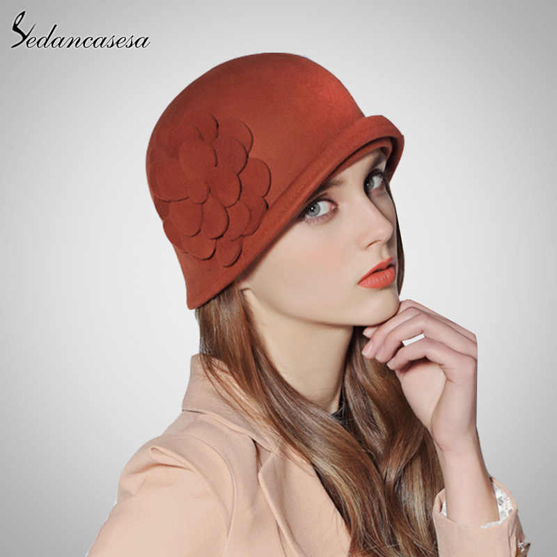 Sedancasesa mujer Sombrero invierno Australia de lana Vintage francés  jugador Sombrero sombreros Fedora de lana Sombrero adfedc3cf540