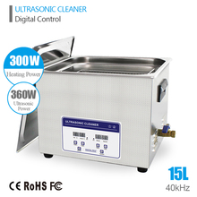 Ultrasonic Jewelry Cleaner 15L 360W 40kHz Dental Lavatrice Ultrasuoni Ultrasoon Reiniger Industry Digital Heated Ultrasonic Bath