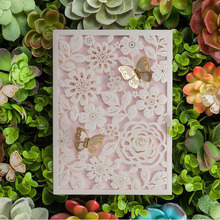 1pcs Sample White Laser Cut Marriage Wedding Invitation Cards Butterfly 3D Card Greeting Cards Postcard Event Party Supplies