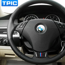 Carbon Fiber Steering Wheel Sticker M stripe Emblem 3D Car Sticker For bmw e60 e61 5 series 2004-2010 Car Styling Accessories