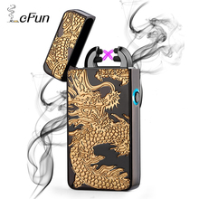 Lcfun Dual Arc Pulse Plasma Lighter USB Charging Windproof Sided Carving Dragon Design Rechargeable Cigarettes Cigar Lighters