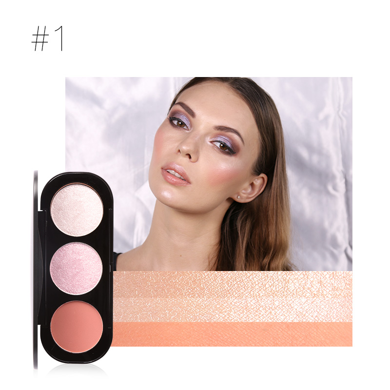 Focallure Brand 3 Colors Blush & Highlighter Palette Highly Pigmented Face Matte Highlighter Powder Illuminated Blush With Brush Eye Shadow