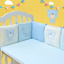 6 Pcs Baby Bed Bumper Soft China Embroidery Bed Bumper Cotton Cartoon Bear Pattern Baby Chair  Cushion Baby Bed Bumper Bedding