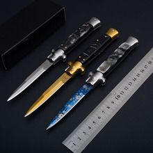 More Styles New Italy Pocket knifes Italian Godfather Stiletto Shell handle Titaniums blade survival outdoor camping knives Gift(China)