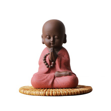 Colorful Purple Clay Lucky Meditation Yoga Monk Tea Pet Ornaments Boutique Figurines Statue Crafts Tea Accessories Home Decor(China)