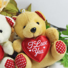 hot sale 11cm mini plush bear toys with heart(cream, brown), cheap wholesale 50 pcs/lot sutffed bear toys, free shipping  t