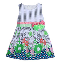 Cute Plaid Floral Printing Girls Knee-Length Dress 2017 New Summer Dresses Baby Kids 1Y 6Y - Missyoubaby Store store