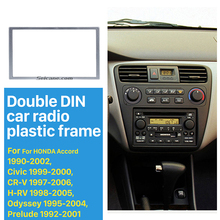 Universal Silver 173*98mm 2 Din Car Radio Fascia for 1990-2006 HONDA Series automobile DVD Frame Auto stereo Adapter CD Trim