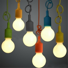 E27 E26 Socket Chandelier Light Fixture Hanging Line Colorful Silicone Rubber Ceiling  Light Lamp Base Holder