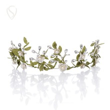 CLEARANCE SALE Romantic Leaf Flower Crown Bridal Tiara Pearl Headband Greek Headpieces Wedding Hair Accessories Decoration