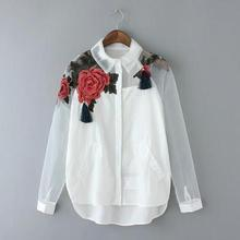 Women White Blusas Feminina Organza Flower Embroidery Mesh Hollow out Long Sleeve Shirt Blouse Clothes Tops Plus Size T5N214