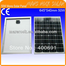 50W 18V Monocrystalline Solar Panel Moduel with Nice Appearance, Reliable Parameter, Good Waterproof, CE, TUV, UL, RoHS Approval(China)