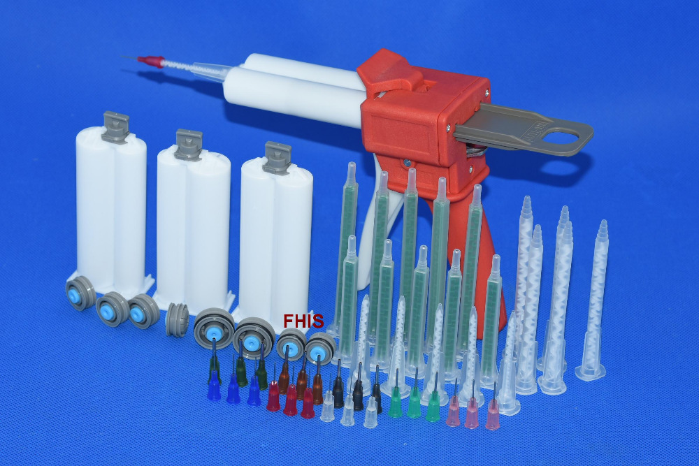 Latest style Chinese red 50ML AB glue cartridge 2: 1 1: 1 Manual Dispense Gun with Cartridge combinations<br>