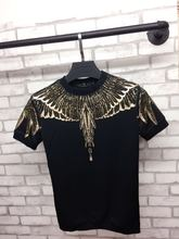 hip hop new 2017 design short sleeved shirt T-shirt male drilling stamp wings tshirt(China)