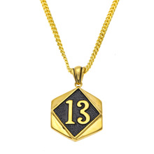 New Gold color figure 13 pendant lucky digital tag hip-hop retro necklace