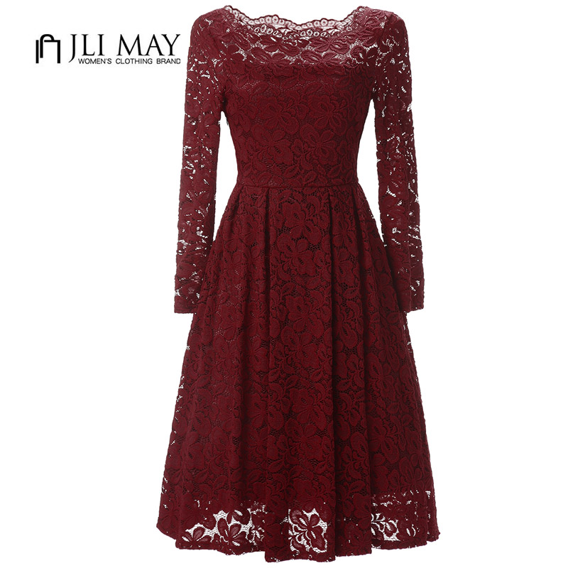 JLI MAY Women lace dress elegant evening party Slash neck long sleeve midi shoulder womens clothing Black ladies dresses