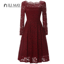 Buy JLI MAY Women lace dress elegant evening party Slash neck long sleeve midi shoulder womens clothing Black ladies dresses for $21.99 in AliExpress store