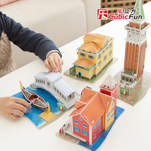 Cubicfun 3D paper model DIY toy gift puzzle mini world's great architecture Italy folk house tower Rialto Bridge building boat
