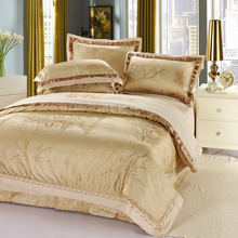 Svetanya Silk and Cotton Bedding Sets Tree Jacquard Embroidered Quilt Cover Set Queen King size