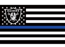 3x5ft Polyester Oakland Raiders Thin Blue Line Custom Flag with two metal Grommets white sleeve(China)