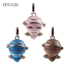 Trendy Cute Colorful Enamel Bee Perfume Essential Oil Diffuser Pendant Woman Girls Bead Cage Locket Jewelry Making(China)