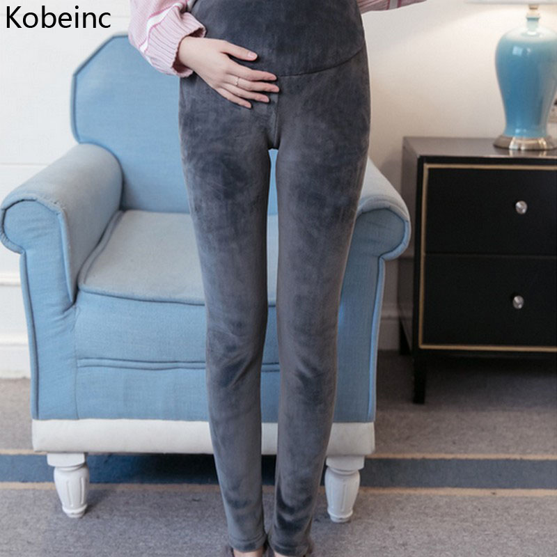 Kobeinc 2017 New Clothes Pregnant Women Autumn Winter Gold Velvet Thick Pregnancy Pants Warm Casual Maternity Trousers M-XXL