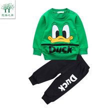 2017 autumn sport suit baby clothes kit for boys tiny cottons winter set for boy sports child clothes green orange 2t 3t 4t 5t(China)