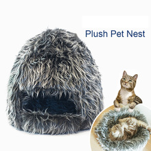 Super Warm Plush Cat Cave Bed Kitten Nest Dog Kennel Puppy House for Small Animals Rabbits Pet Supplies Cozy Pet Bed(China)