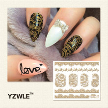 YZWLE 1 Sheet Hot Gold 3D Nail Art Stickers DIY Nail Decorations Decals Foils Wraps Manicure Styling Tools (YZW-6023)