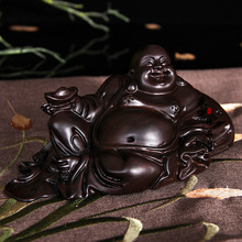Ebony carved ornaments sit laughing Buddha dolls, desktop Decoration home decorations ornaments(A023)(China)