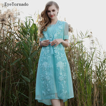 M-3XL plus size women summer flower embroidery white long casual loose work beach boho dress brand bohemian dresses vestido 9802(China)