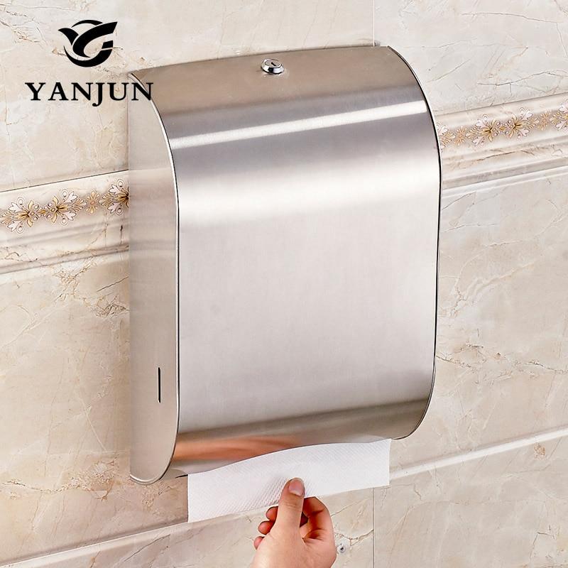 Yanjun Wall Mounted Stainless Steel Toilet Paper Holder  C-Fold or Multifold Paper Towel Dispensers Bathroom Accessories YJ-8680<br>