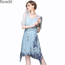 Readit Women Silk Dress 2017 Summer Fake Two Chinese Robes Vintage Print Half Sleeve Dress Dress D2249