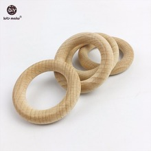 Let's Make Beech wooden round wood ring 54mm baby teether 20pc DIY bracelet crafts gift for infant beech wooden ring bangles
