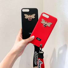 Hepu Luxury little bee diamond lanyard for apple iphone 6 phone shell iPhone7 / 6s / plus creative tide brand leather shell