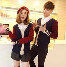 2017 spring and autumn male couple sweater cardigan collar men's sweater slim V Korean youth jacket men(China)