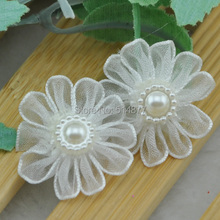 30pcs White Ribbon Daisy W/pearl wedding/Appliques/Craft/Girl Lots mix U Pick B214
