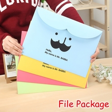 (12 Pieces/Lot) Cute Mustache A4 Paper File Folders For Document / Kawaii School Stationery File Bag FRS-123