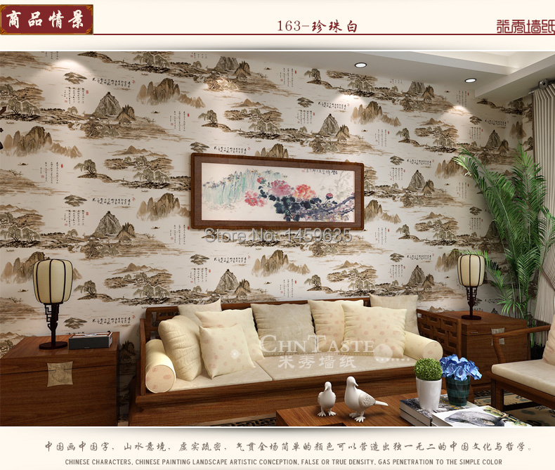 New classical Chinese ink painting style porch wallpaper Chinese teahouse living room sofa backdrop wallpaper<br>