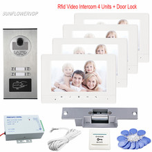 "Intercom Rfid For 4 Apartment Video Door Phone Doorbell Intercom Night-Vision Camera Intercom 7"" Color Monitors + Electric Lock"