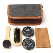 6Pcs/Set Boots Shoes Sneakers Cleaning Polish Brush Shine Kit Shoe Care Portable Case Set Neutral Polishing Tool