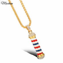 MQCHUN Hand Made Barber Shop Theme Bling Pendant Necklace Hair Stylist Jewelry Pole 2017 New Hot(China)