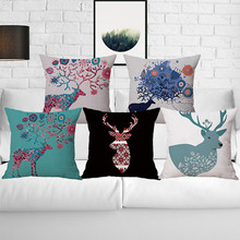 wholesale wedding gift Nordic London Retro Flower Pattern Elk Deer Antlers decorative cushion cover car home sofa pillow case(China)