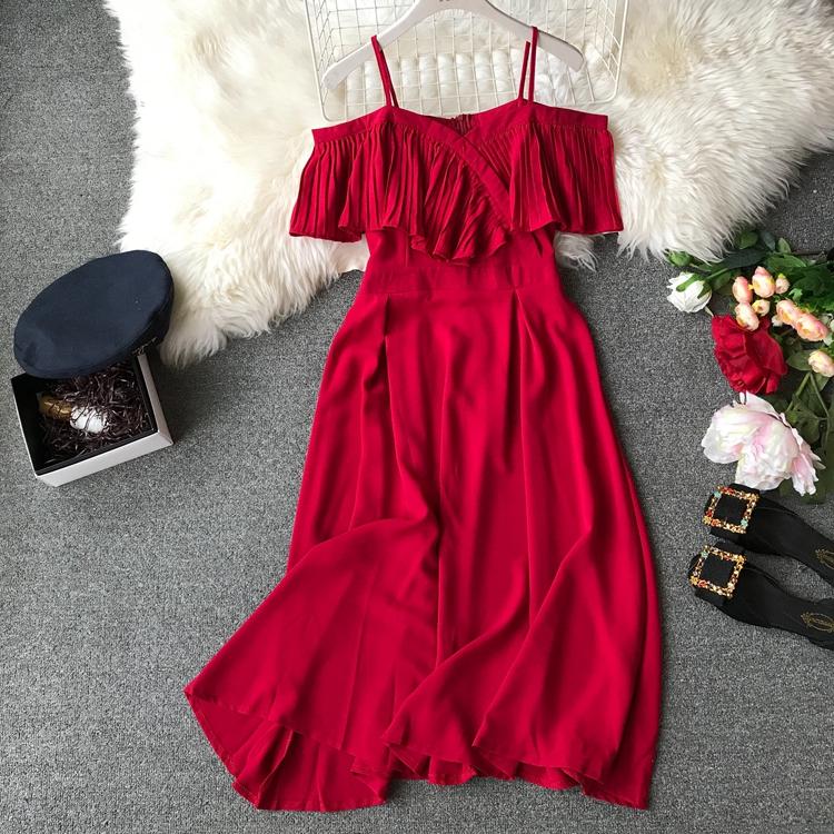 2019 Spring Women Chiffon Pleated Braces Sling Spaghetti Strap Goffer Long Dress Ladies Ruffles Empire Drapped Swing Slip Dress 173
