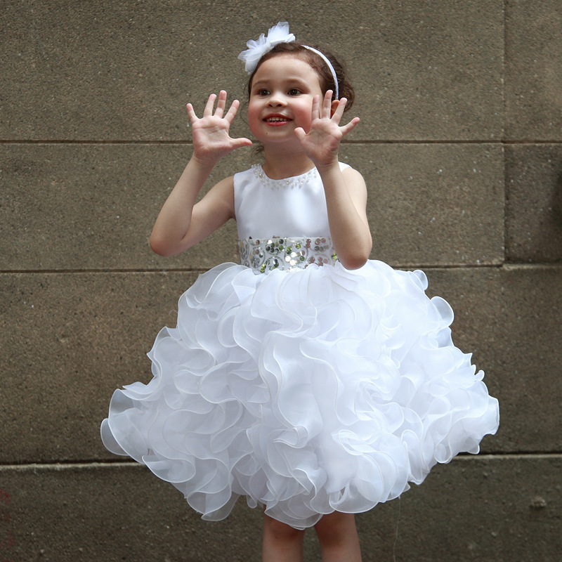 Pure White Girls Fromal Dress Flower Elegant Princess Girl Birthday Vestidos For 3 To 12 T Girls Clothes AKF164044<br>