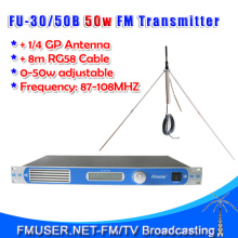FU-30/50B 50W FM Radio Broadcast FM transmitter 0-50w power adjustable 1/4 wave GP Antenna Kit